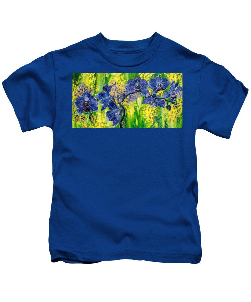 Inga Vereshchagina Kids T-Shirt featuring the painting Orchids In A Gold Rain by Inga Vereshchagina