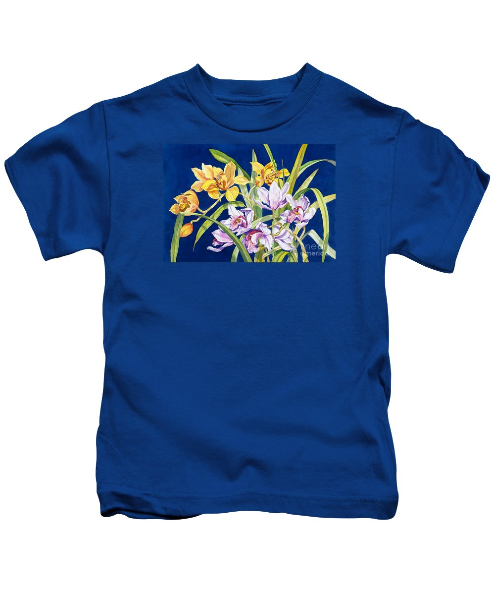 Orchids Kids T-Shirt featuring the painting Orchids In Blue by Lucy Arnold
