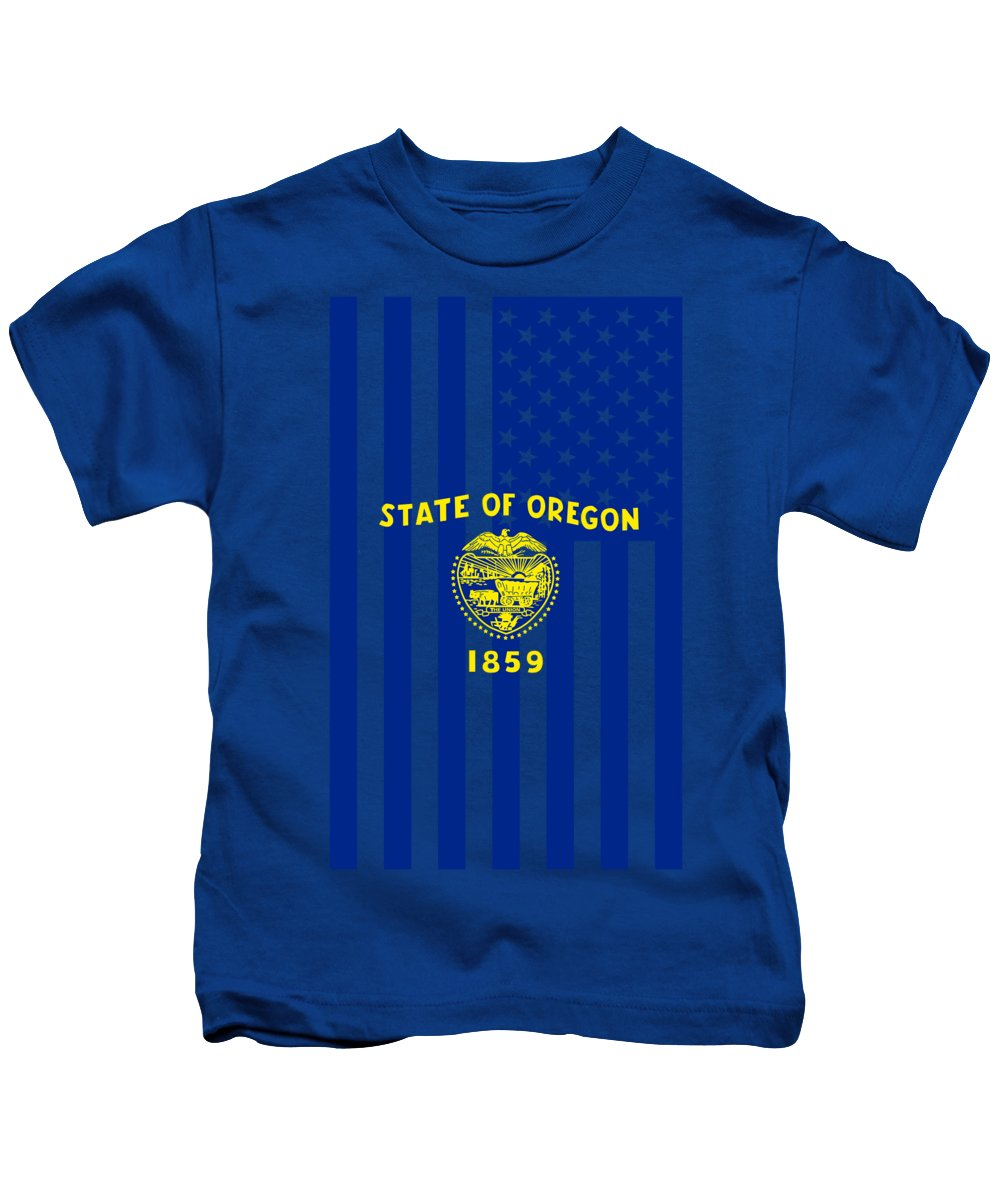 Oregon Kids T-Shirt featuring the digital art Oregon State Flag Graphic Usa Styling by Garaga Designs