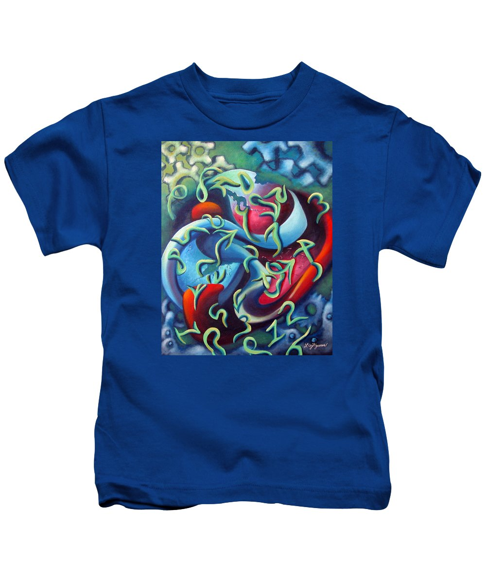 Clocks Kids T-Shirt featuring the painting Our Inner Clocks by Elizabeth Lisy Figueroa