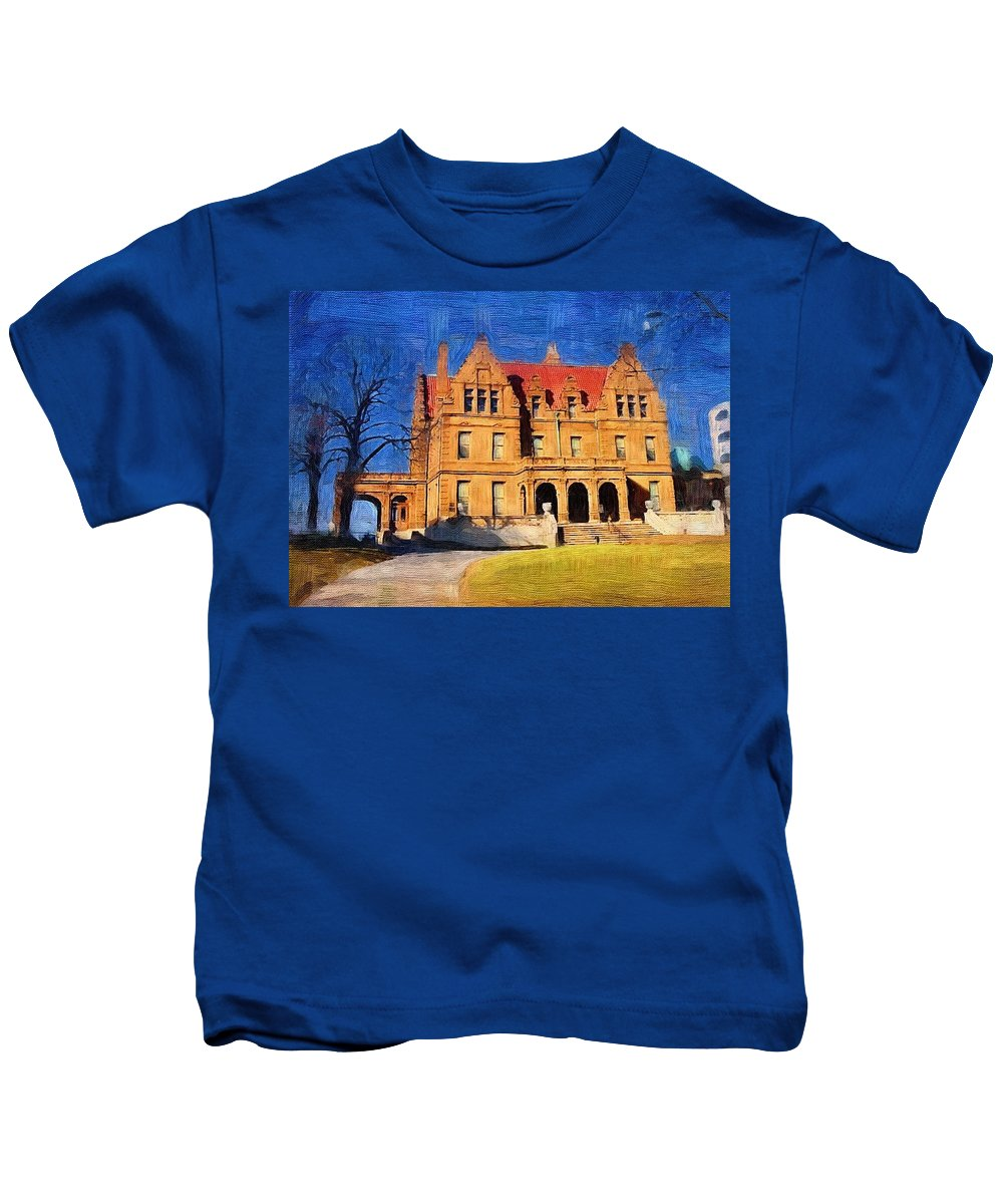 Architecture Kids T-Shirt featuring the digital art Pabst Mansion by Anita Burgermeister