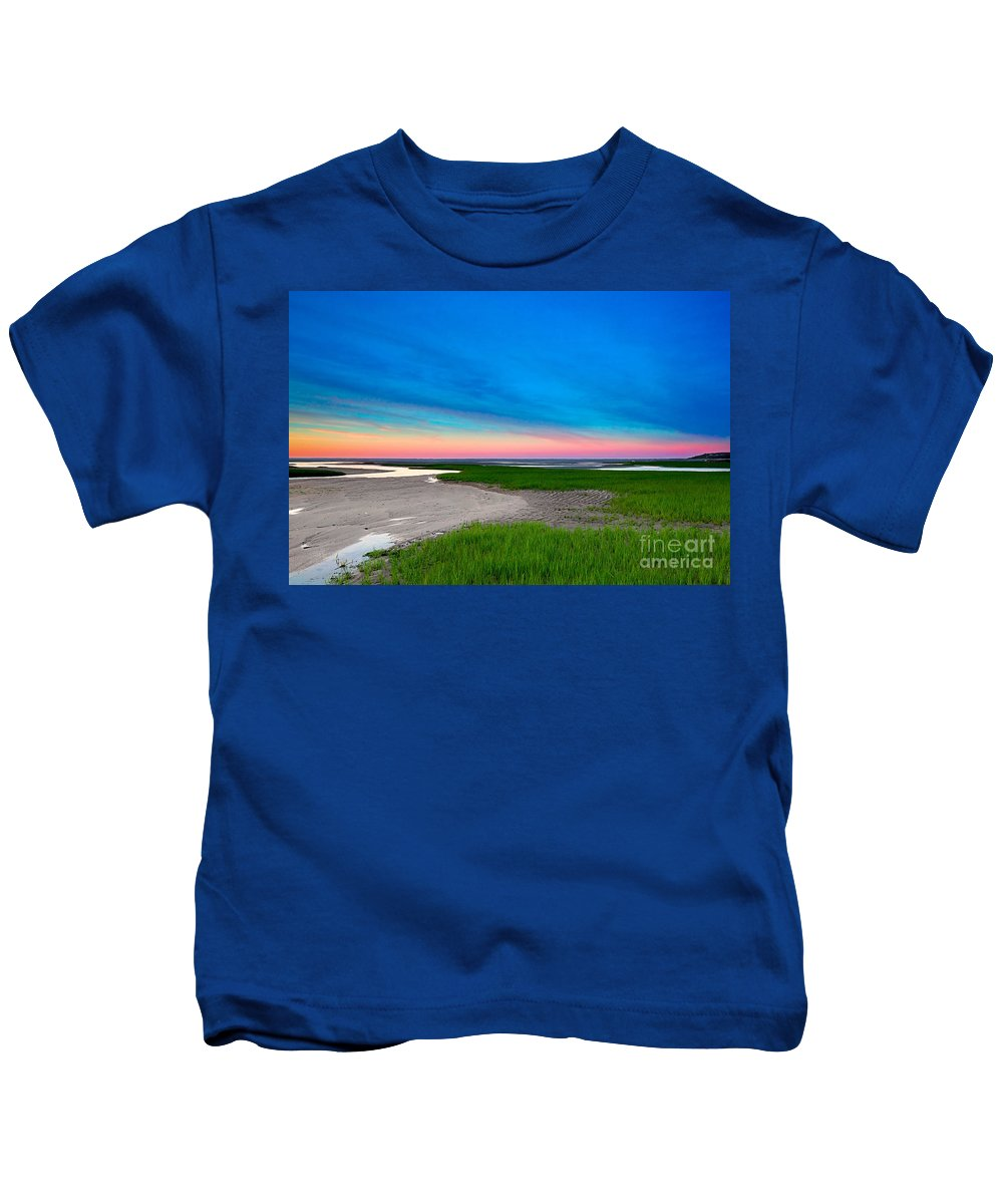 Sunset Kids T-Shirt featuring the photograph Paines Creek Sunset Cape Cod by Matt Suess
