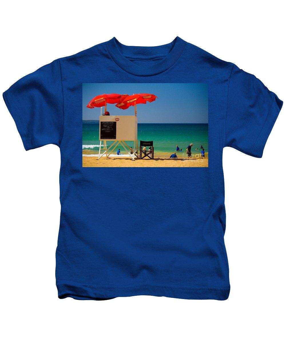 Palm Beach Sun Sea Sky Beach Umbrellas Kids T-Shirt featuring the photograph Palm Beach Dreaming by Sheila Smart Fine Art Photography