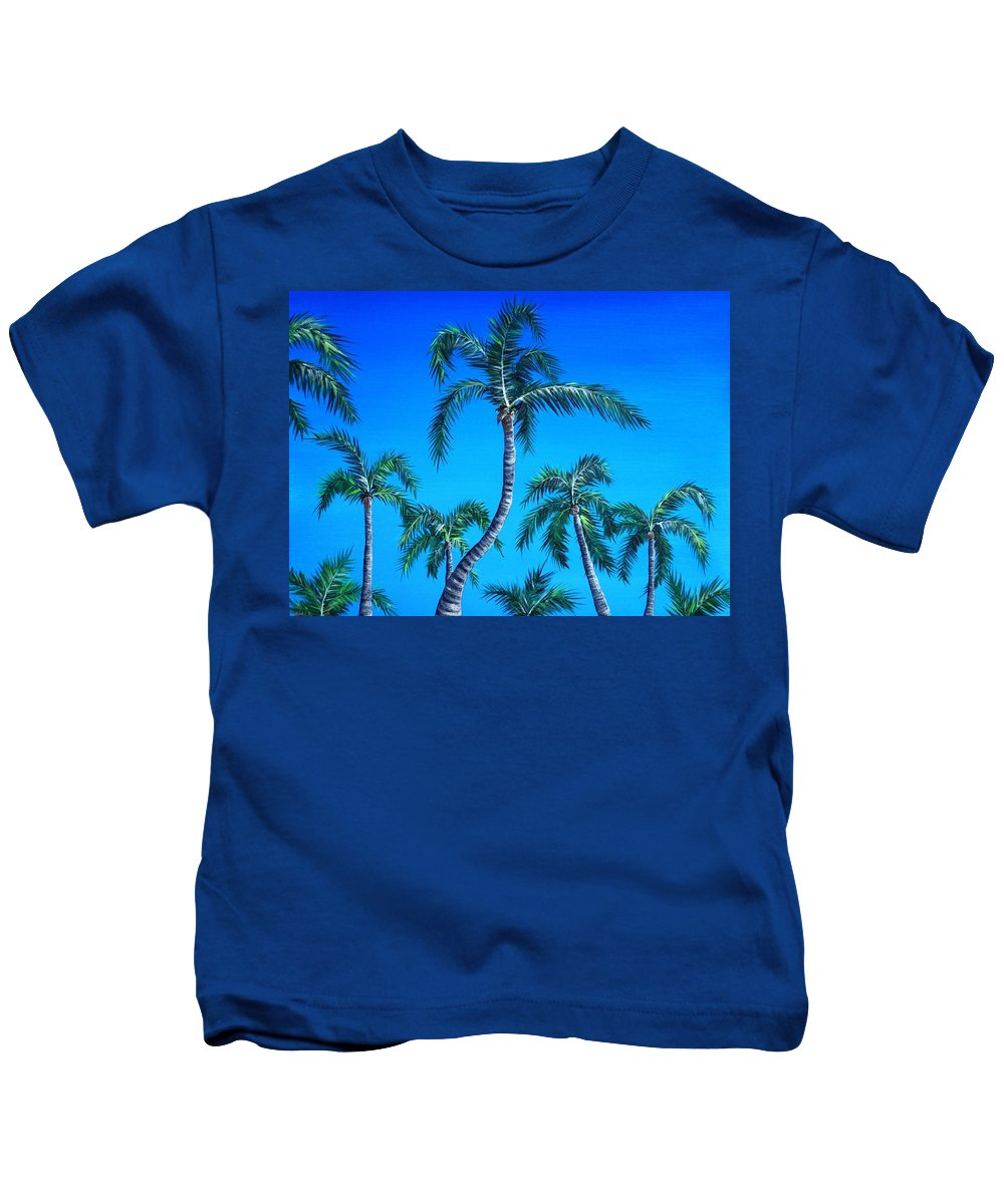 Palm Kids T-Shirt featuring the painting Palm Tops by Anastasiya Malakhova