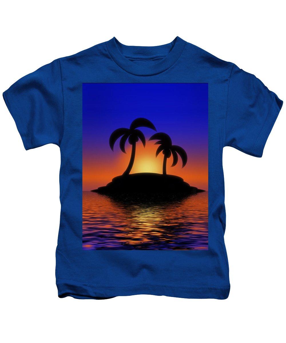 Sunrise Kids T-Shirt featuring the digital art Palm Tree Island by Gravityx9 Designs