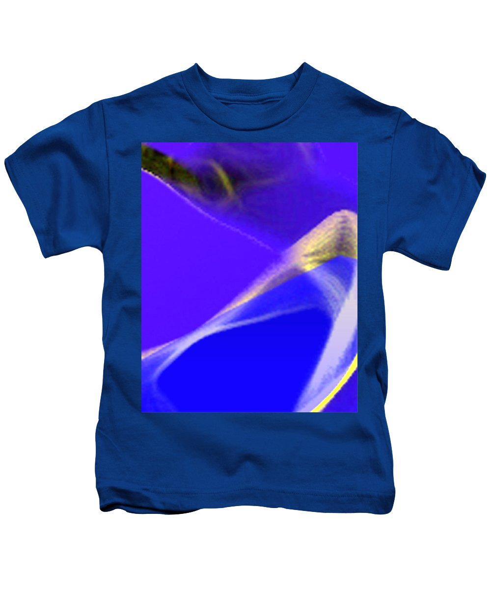 Abstract Kids T-Shirt featuring the digital art panel three from Movement in Blue by Steve Karol