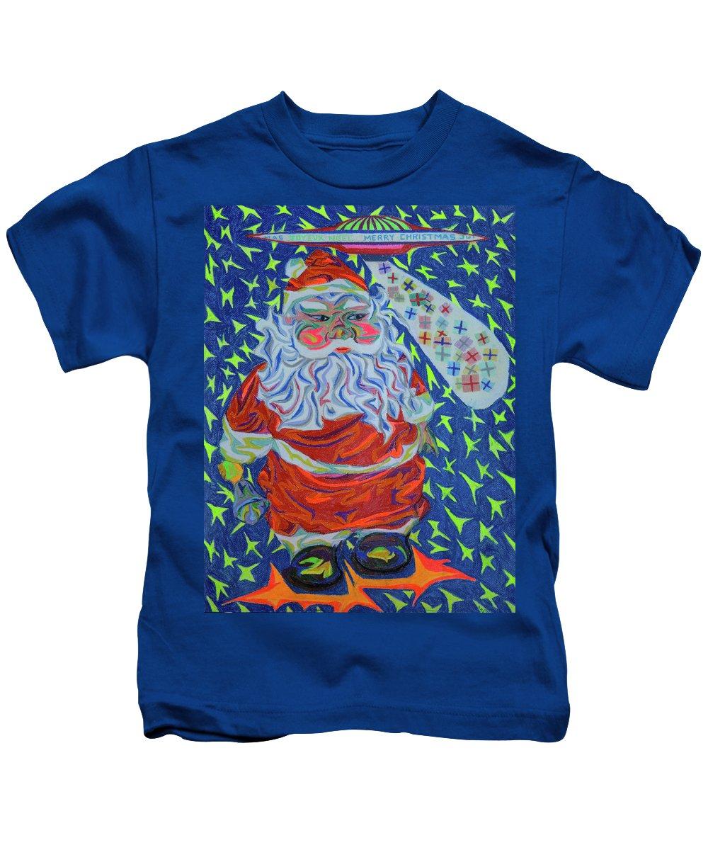Christmas Kids T-Shirt featuring the painting Papa Noel Des Etoilles by Robert SORENSEN