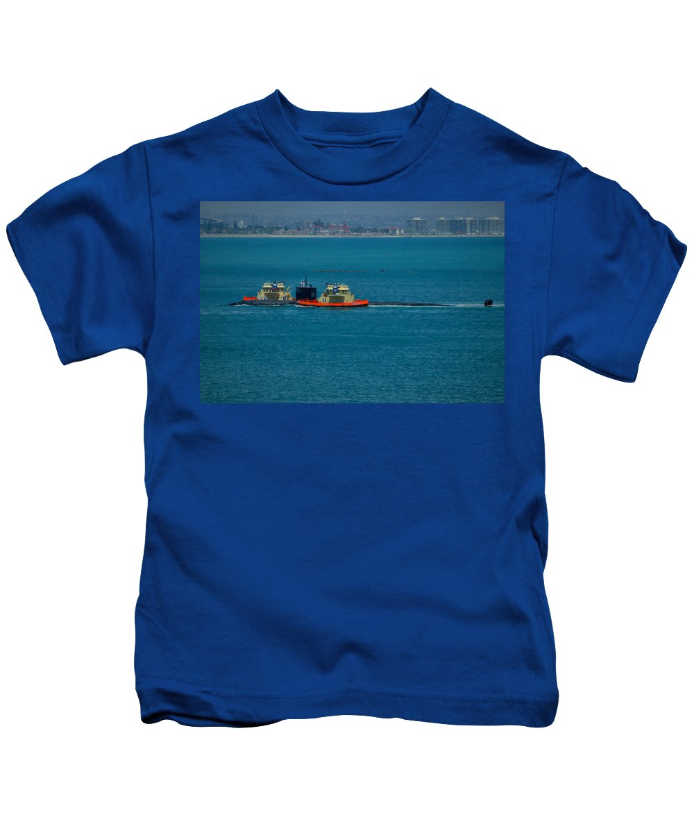 Naval Base Point Loma Kids T-Shirt featuring the photograph Pasadena- Fast Attack Sub by See My Photos