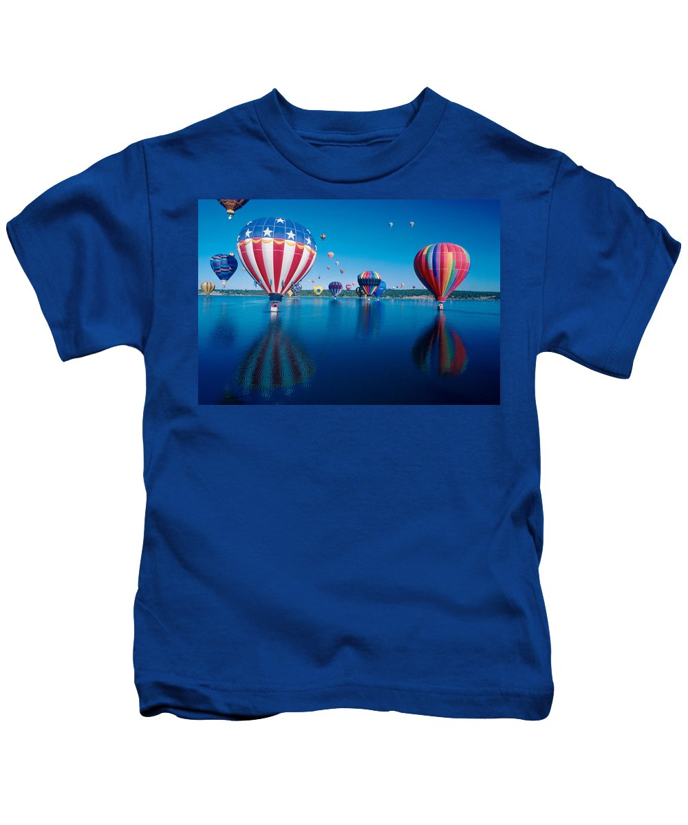 Hot Air Balloons Kids T-Shirt featuring the photograph Patriotic Hot Air Balloon by Jerry McElroy