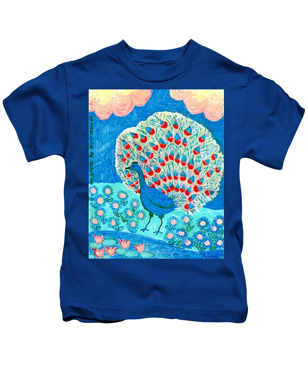 Sue Burgess Kids T-Shirt featuring the painting Peacock And Lily Pond by Sushila Burgess