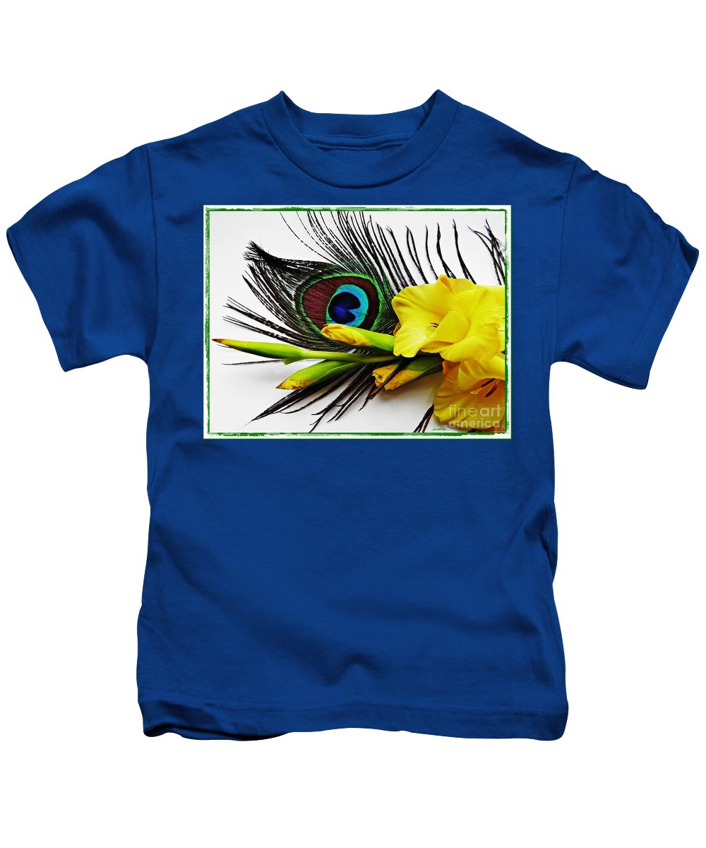 Gladiolus Kids T-Shirt featuring the photograph Peacock Feather And Gladiola 4 by Sarah Loft