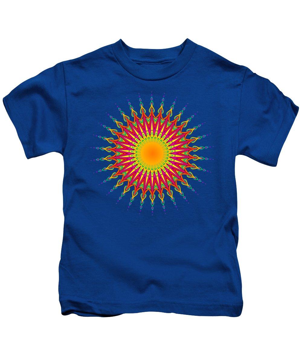 Peacock Kids T-Shirt featuring the digital art Peacock Sun Mandala Fractal by Ruth Moratz