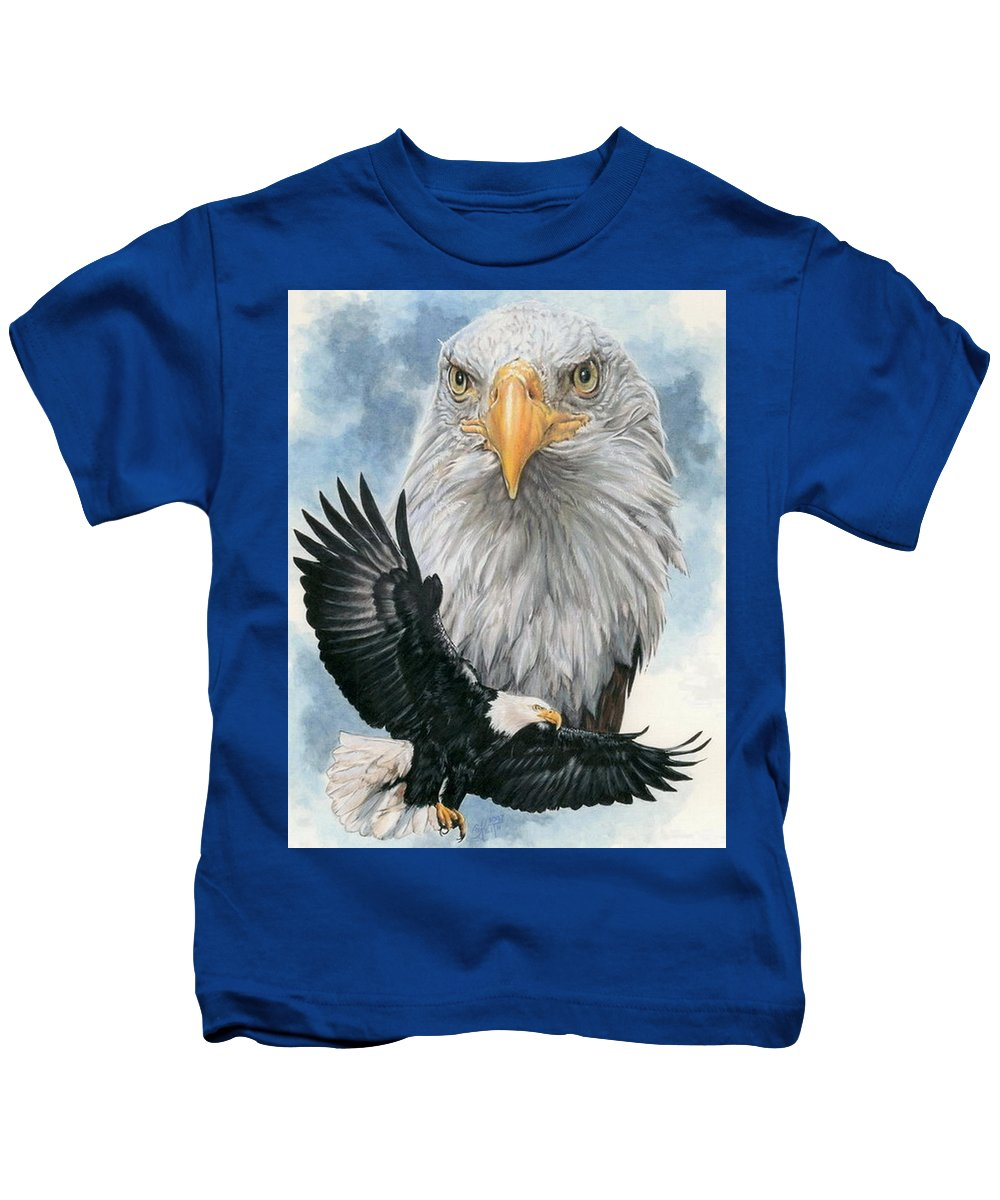 Bald Eagle Kids T-Shirt featuring the mixed media Peerless by Barbara Keith