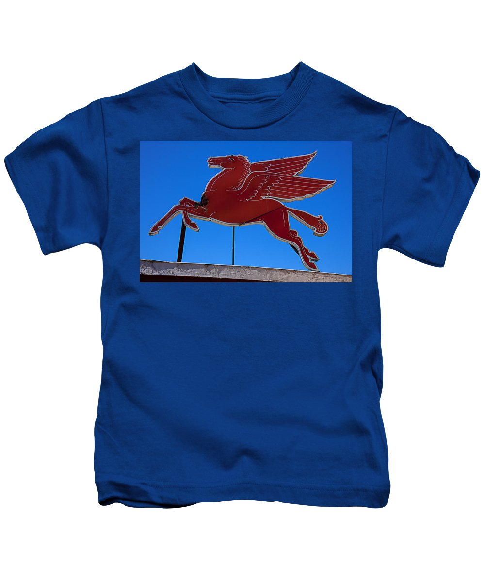 Pegasus Kids T-Shirt featuring the photograph Pegasus Oil Sign by Garry Gay