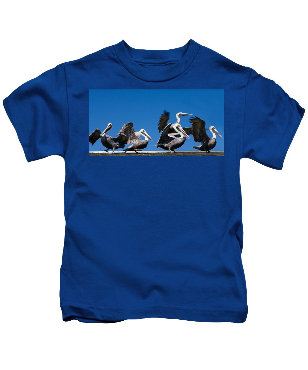 Pelicans Kids T-Shirt featuring the photograph Pelicans Take Flight by Mal Bray