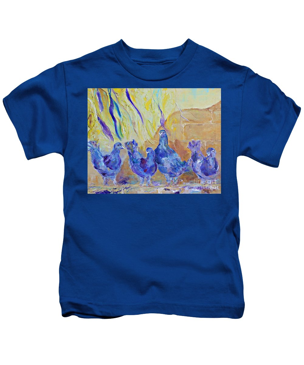 Pigeon Kids T-Shirt featuring the painting Pigeons by Amalia Suruceanu