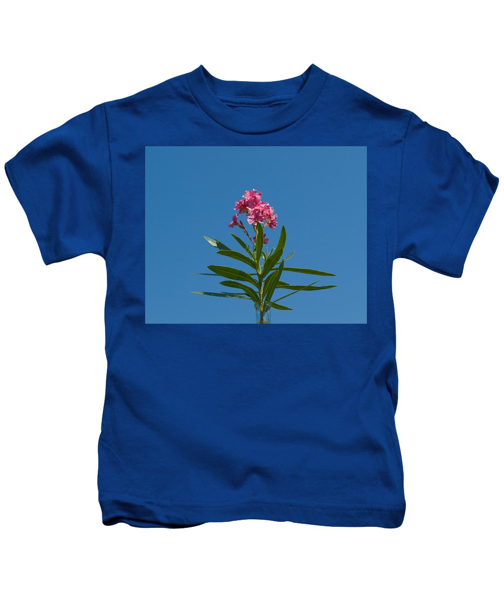 Florida; Indian; River; Melbourne; Nerium; Oleander; Red; Pink; Flower; Bush; Shrub; Poison; Poisono Kids T-Shirt featuring the photograph Pink Florida Oleander Blossom by Allan Hughes