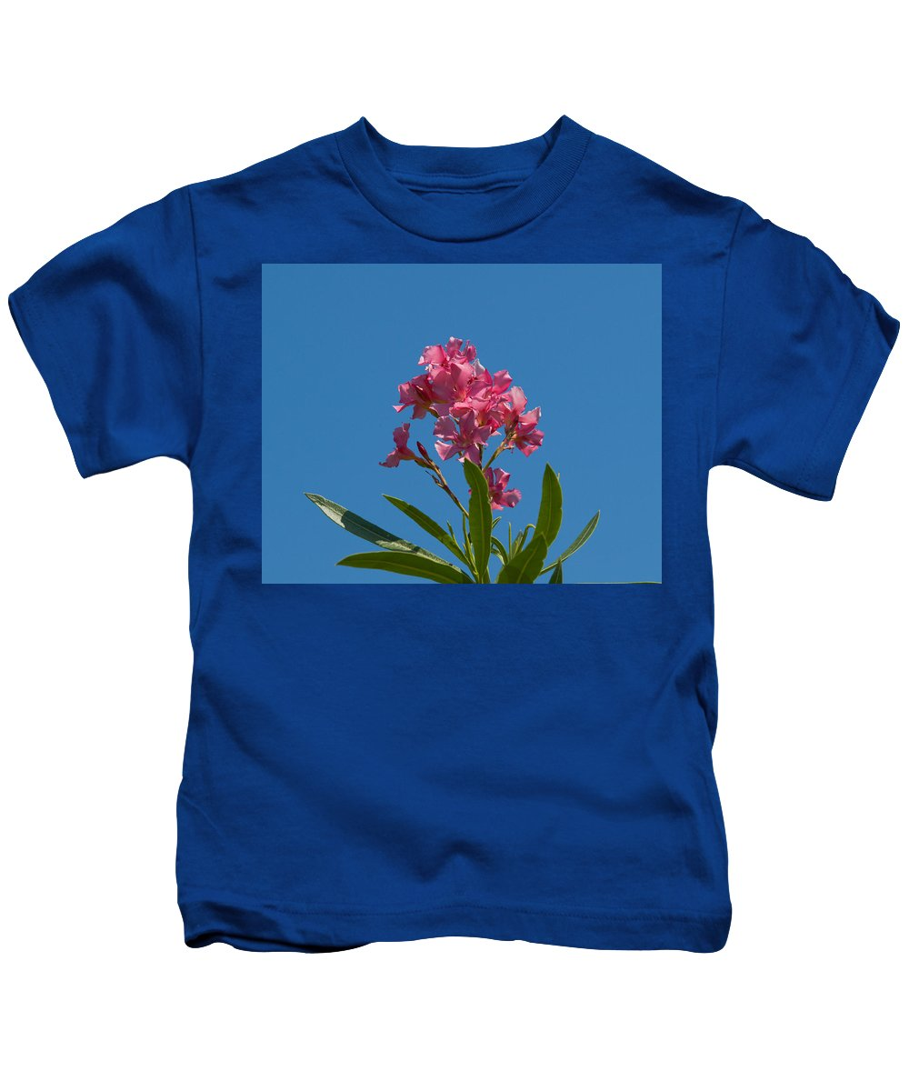 Florida; Indian; River; Melbourne; Nerium; Oleander; Red; Pink; Flower; Bush; Shrub; Poison; Poisono Kids T-Shirt featuring the photograph Pink Oleander Flower In Spring by Allan Hughes