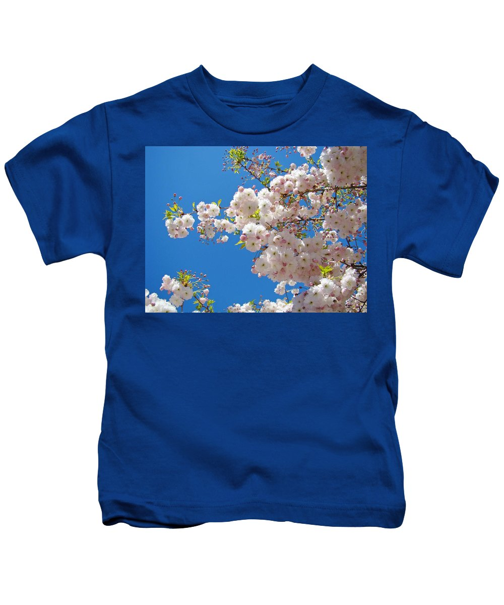 �blossoms Artwork� Kids T-Shirt featuring the photograph Pink Tree Blossoms Art Prints 55 Spring Flowers Blue Sky Landscape by Baslee Troutman
