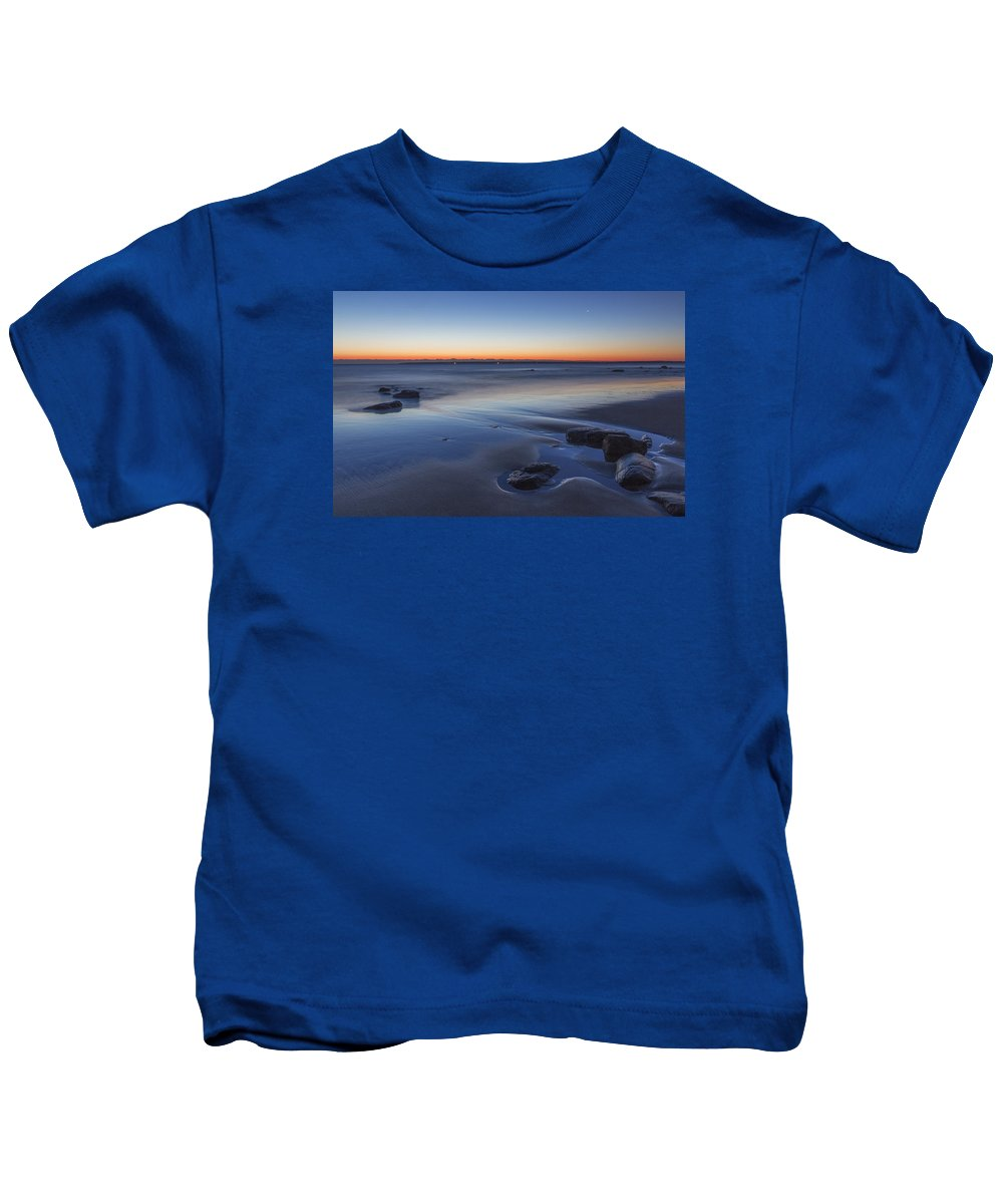 New England Kids T-Shirt featuring the photograph Plum Island Blue And Red Dawn by Scott Snyder