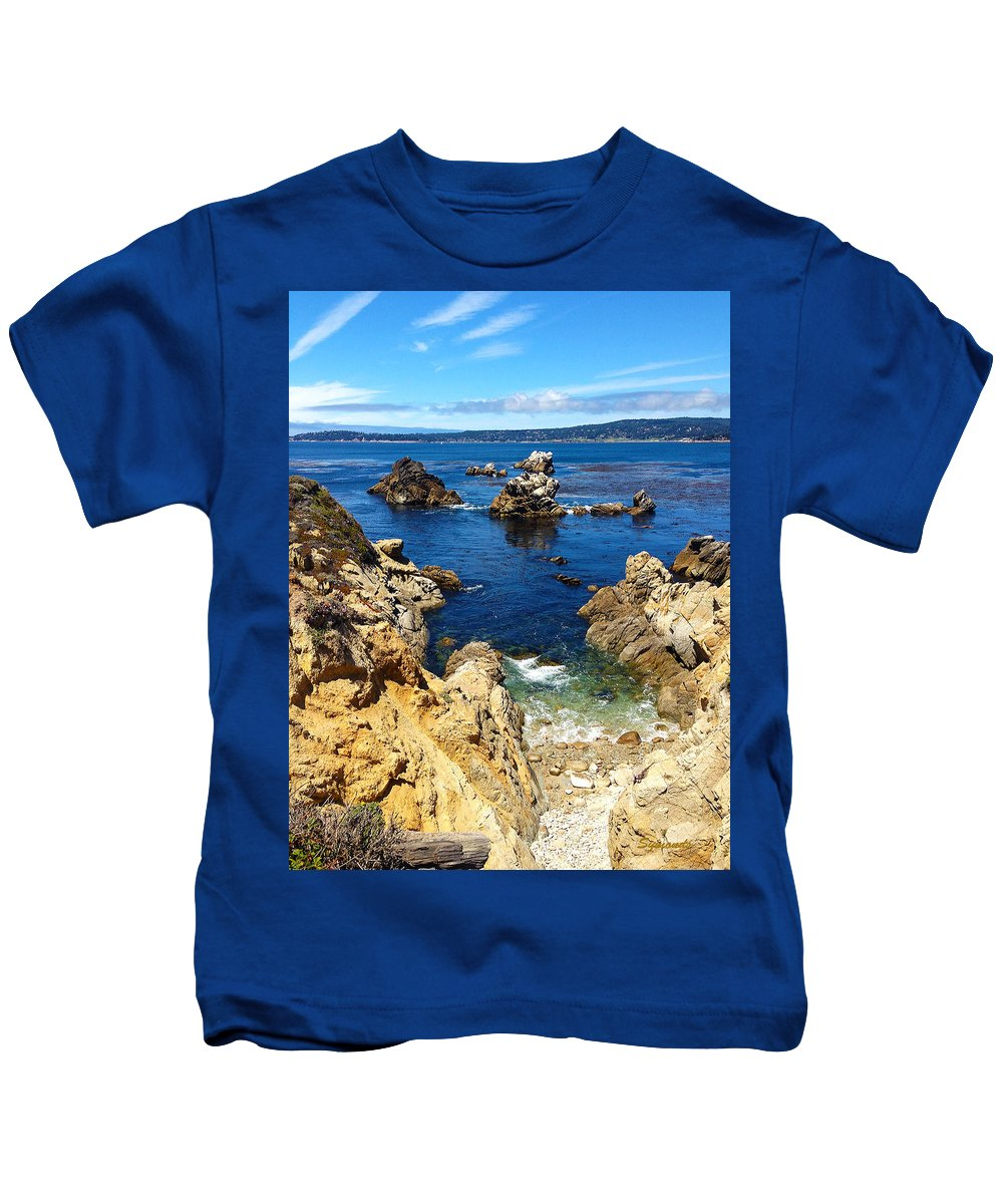 Point Lobos Kids T-Shirt featuring the painting Point Lobos Whalers Cove- Seascape Art by Kathy Symonds