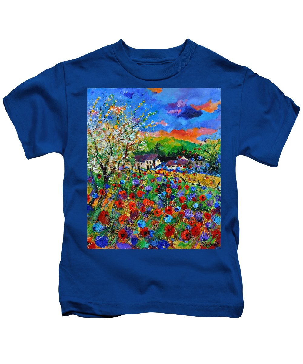 Poppies Kids T-Shirt featuring the painting Poppies in Sorinnes by Pol Ledent