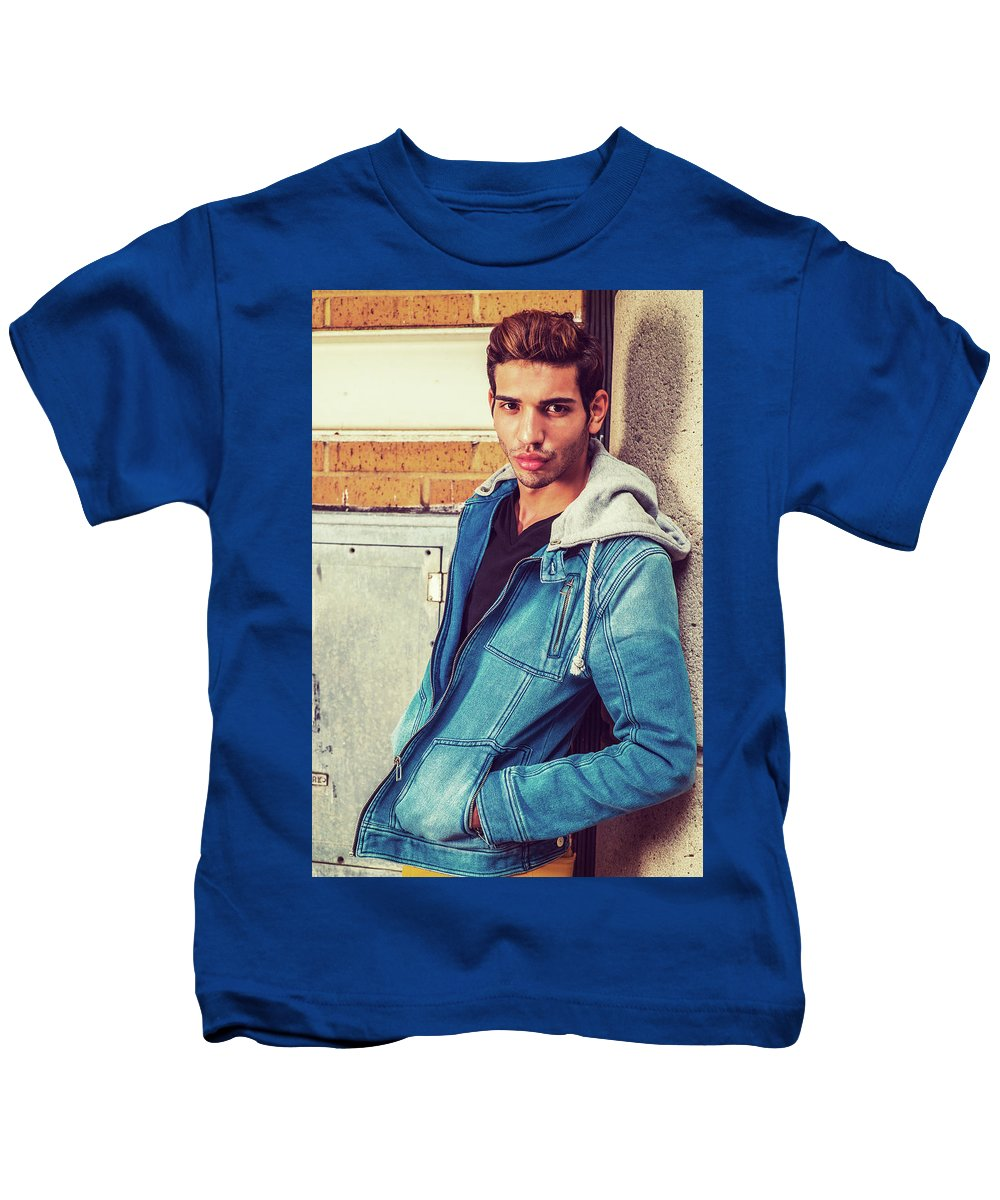 Young Kids T-Shirt featuring the photograph Portrait Of Young Man In New York by Alexander Image