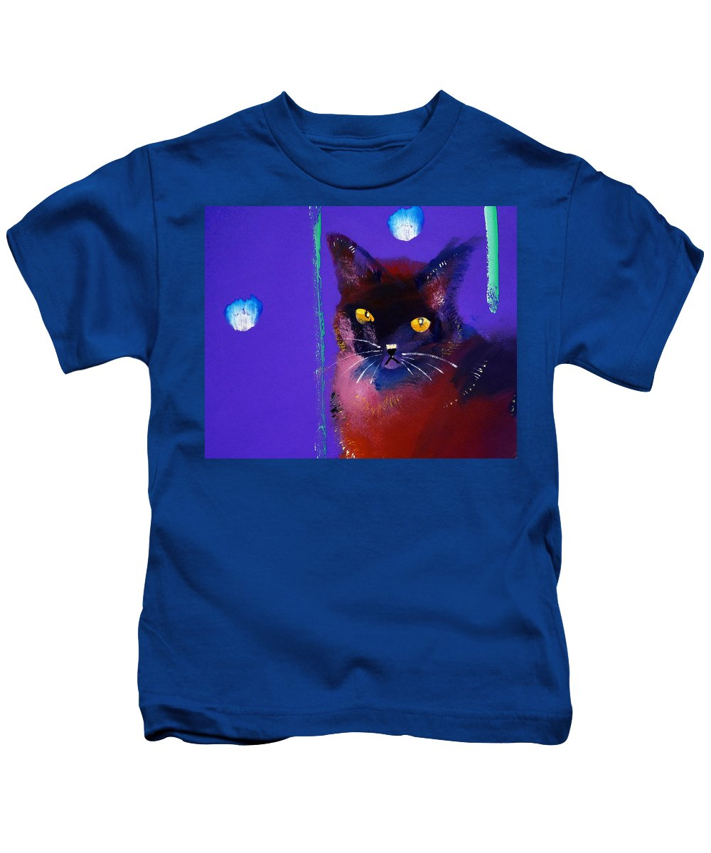 Cat Kids T-Shirt featuring the painting Posh Tom Cat by Charles Stuart