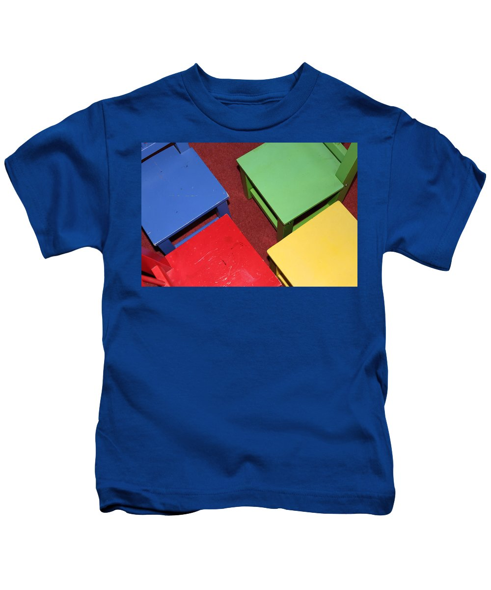 Chair Kids T-Shirt featuring the photograph Primary Chairs by Lauri Novak