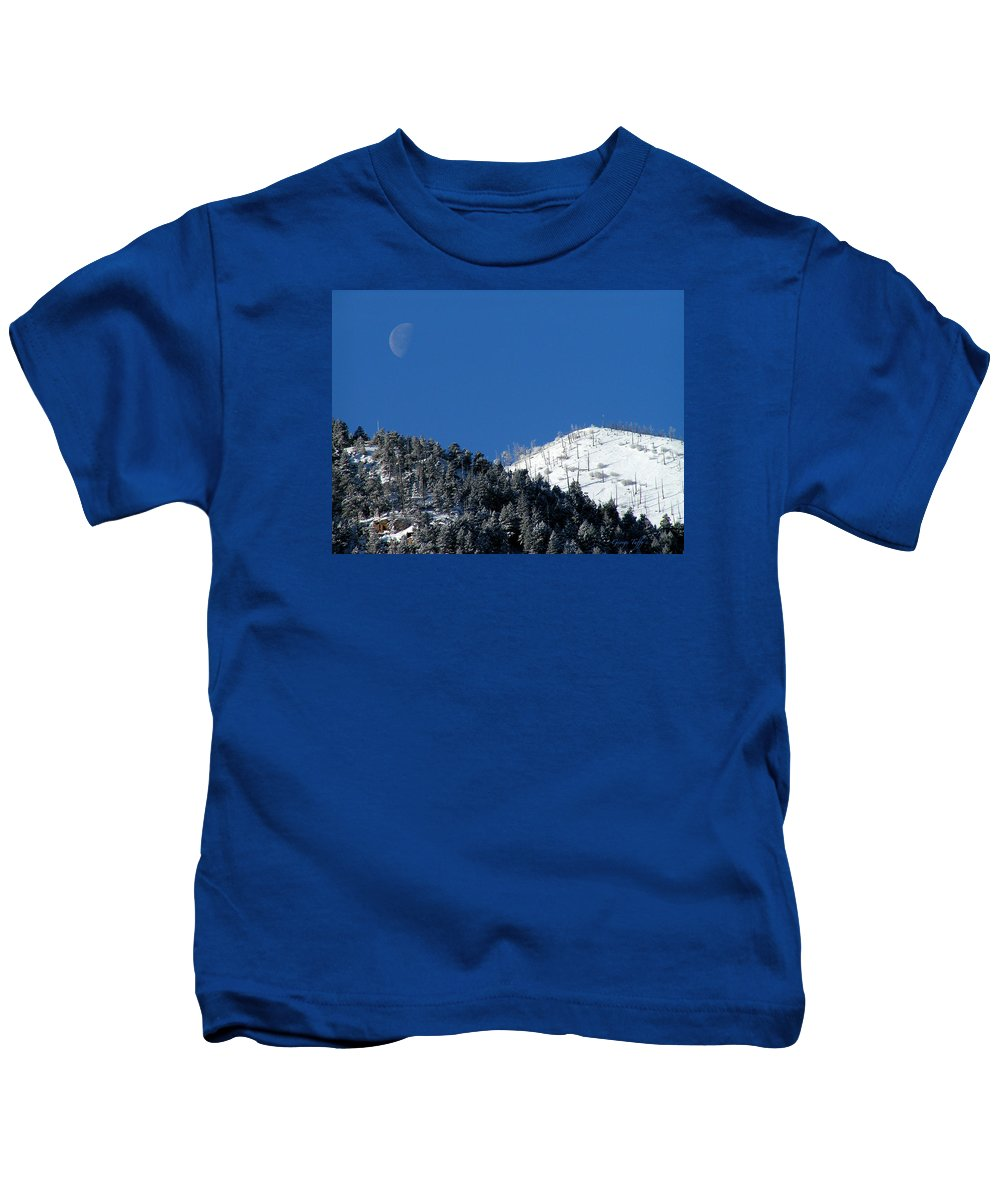 Winter Moon Sugarloaf Mountain Rocky Mountains Colorado Snow Zen Simple Fourmilecanyon Kids T-Shirt featuring the photograph Pristine Winter Morning by George Tuffy