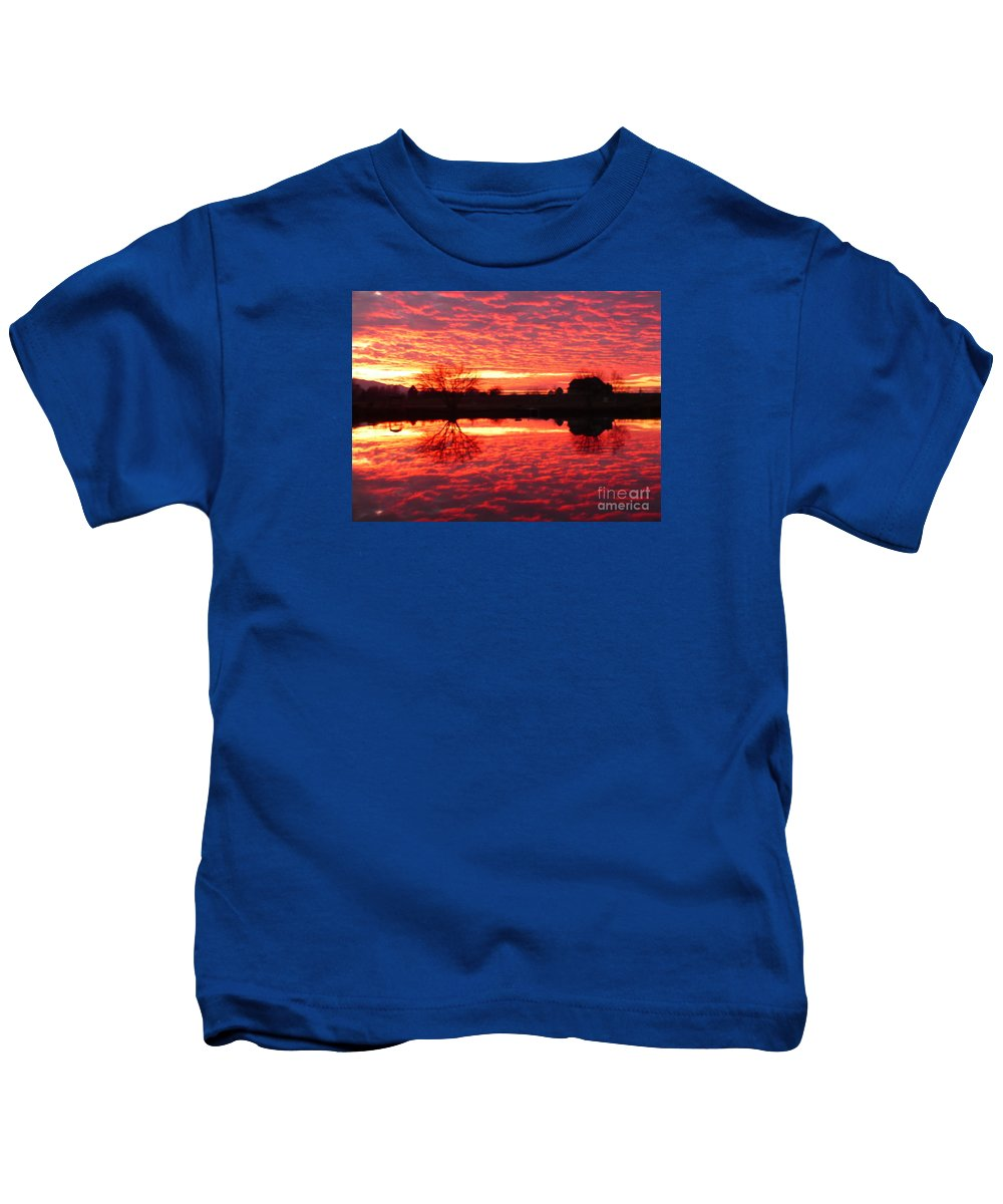 Orange Kids T-Shirt featuring the photograph Dramatic Orange Sunset by Carol Groenen
