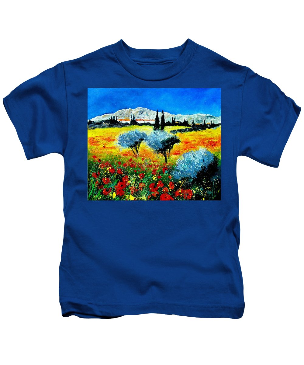 Poppies Kids T-Shirt featuring the painting Provence by Pol Ledent