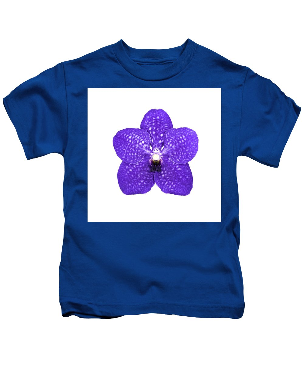 Purple Kids T-Shirt featuring the photograph Purple Orchid On White by Scott Mullin