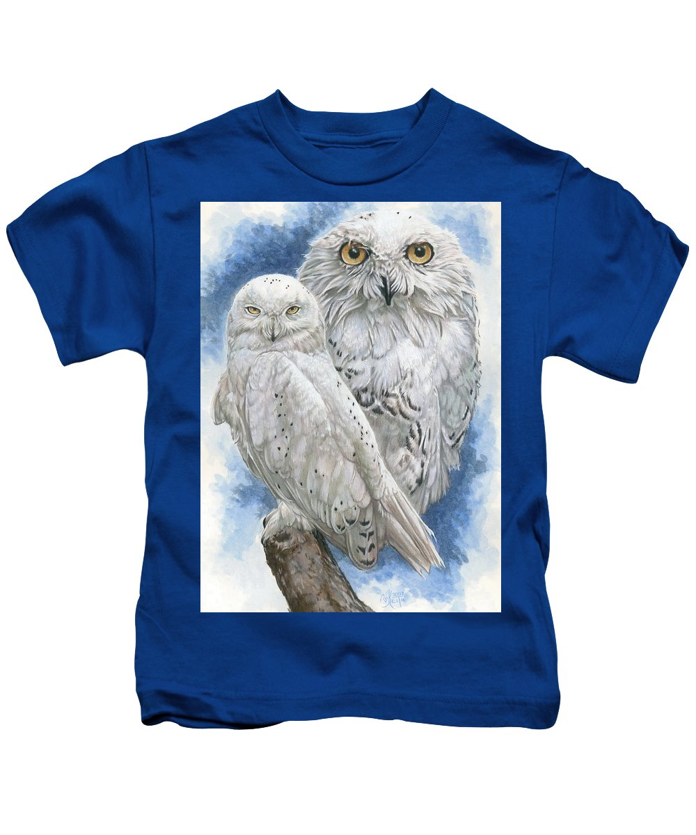 Snowy Owl Kids T-Shirt featuring the mixed media Radiant by Barbara Keith