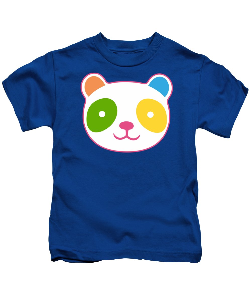 Panda Kids T-Shirt featuring the digital art Rainbow Panda by Julia Jasiczak