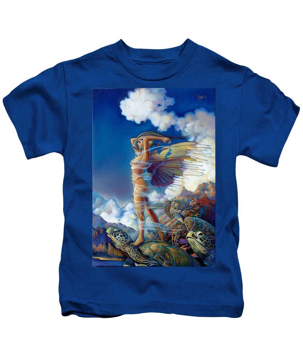 Mermaid Kids T-Shirt featuring the painting Rapture And The Ecstasea by Patrick Anthony Pierson