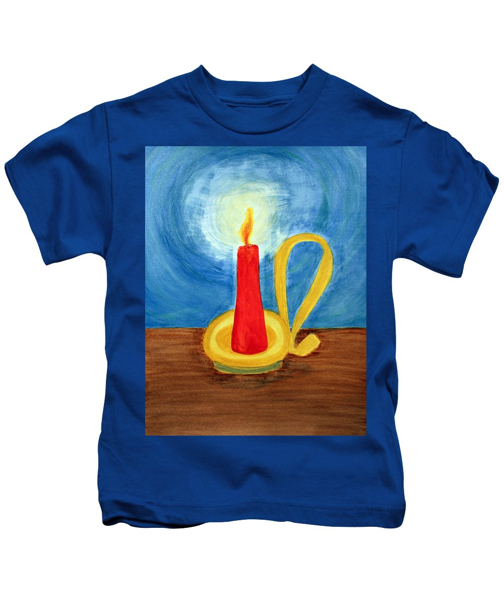 Art Kids T-Shirt featuring the painting Red Candle Lighting Up The Dark Blue Night. by Lee Serenethos
