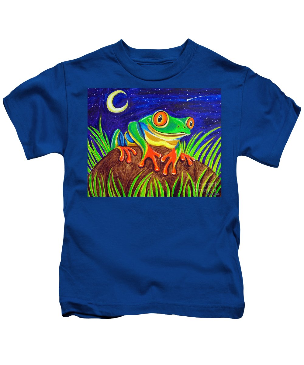 Red-eyed Tree Frog Kids T-Shirt featuring the painting Red-eyed Tree Frog And Starry Night by Nick Gustafson
