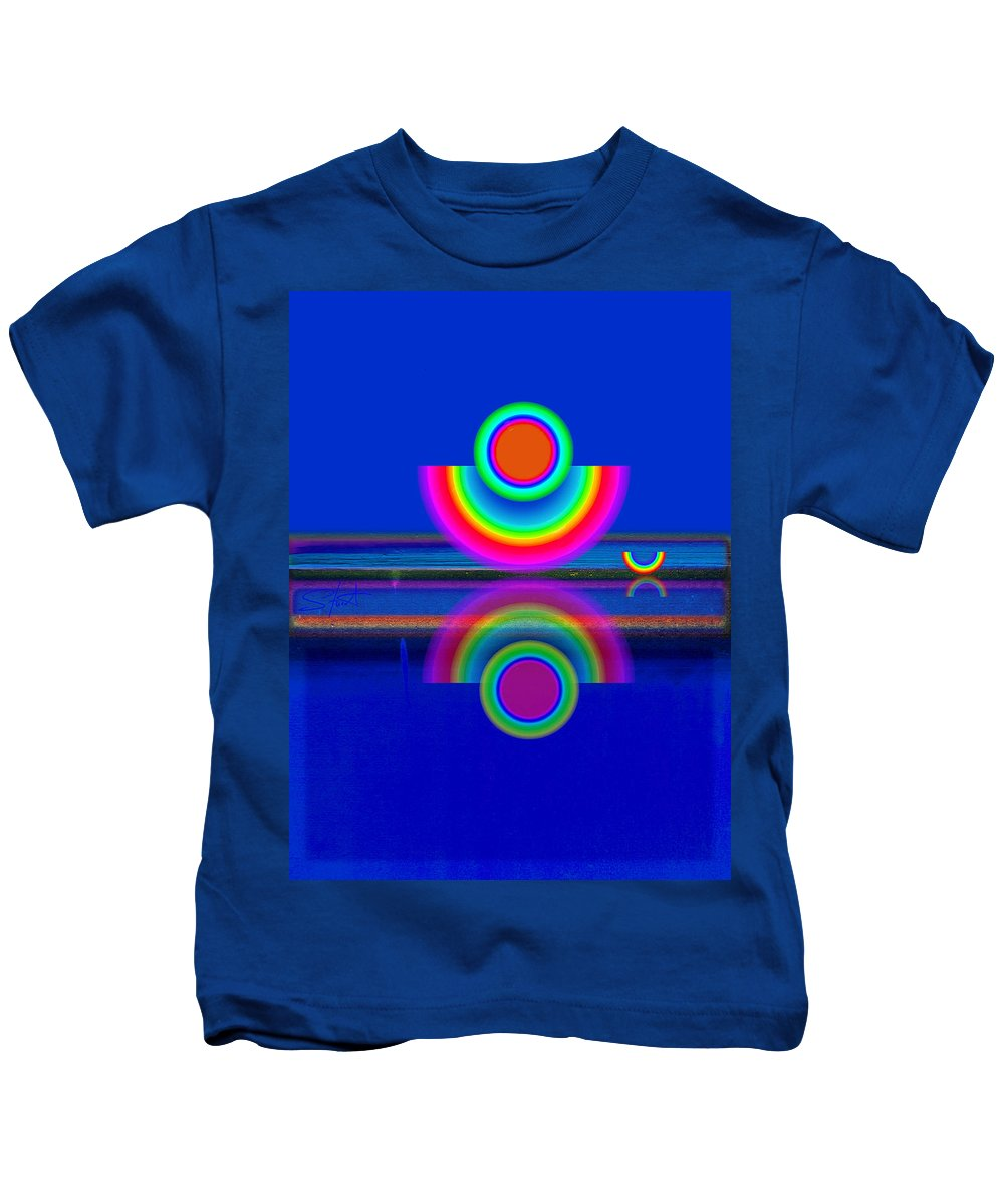 Reflections Kids T-Shirt featuring the painting Reflections On Blue by Charles Stuart
