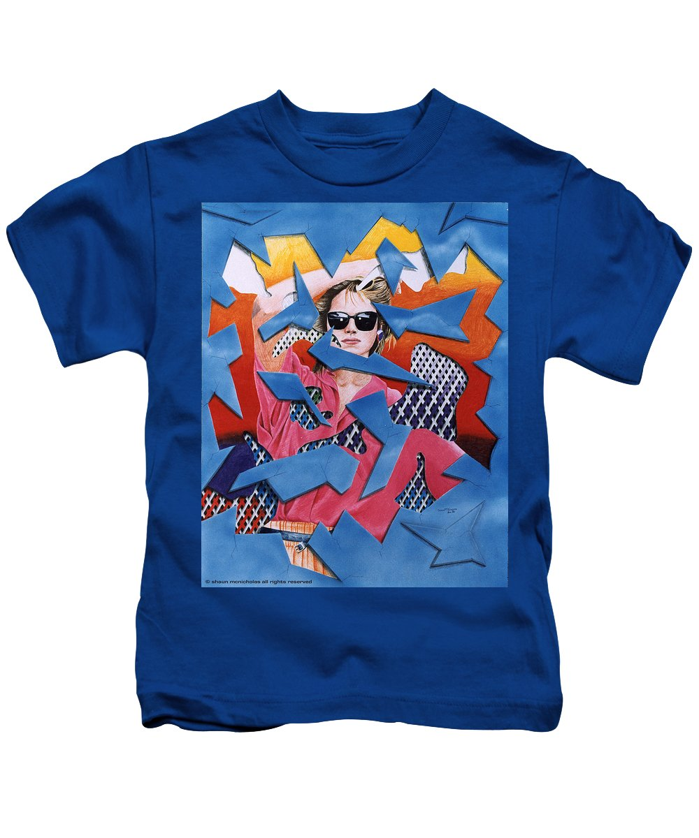 Woman Kids T-Shirt featuring the drawing Reflections by Shaun McNicholas