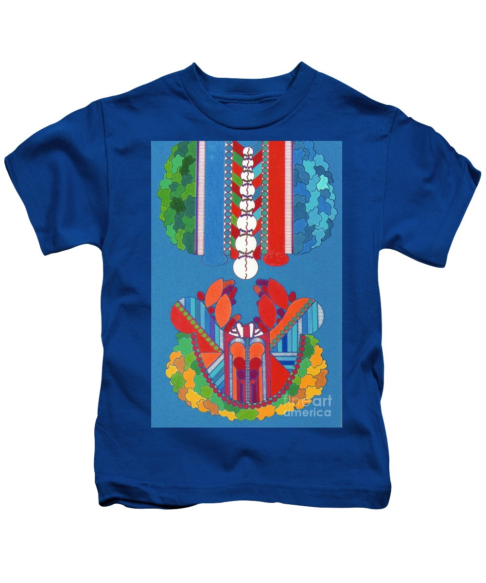 Abstract Crustation Kids T-Shirt featuring the drawing Rfb0431 by Robert F Battles