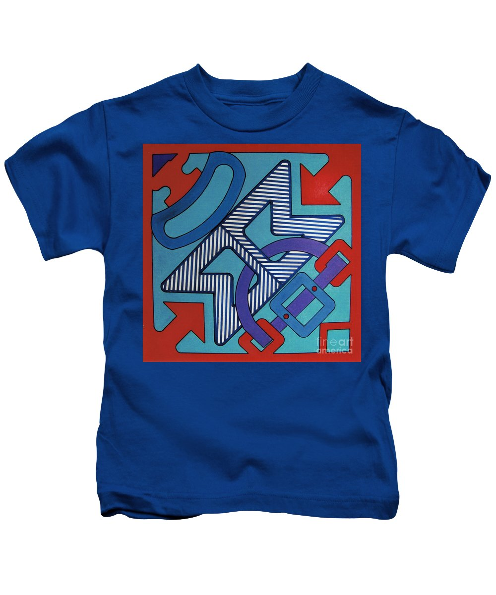 Directional Shapes Kids T-Shirt featuring the drawing Rfb0620 by Robert F Battles