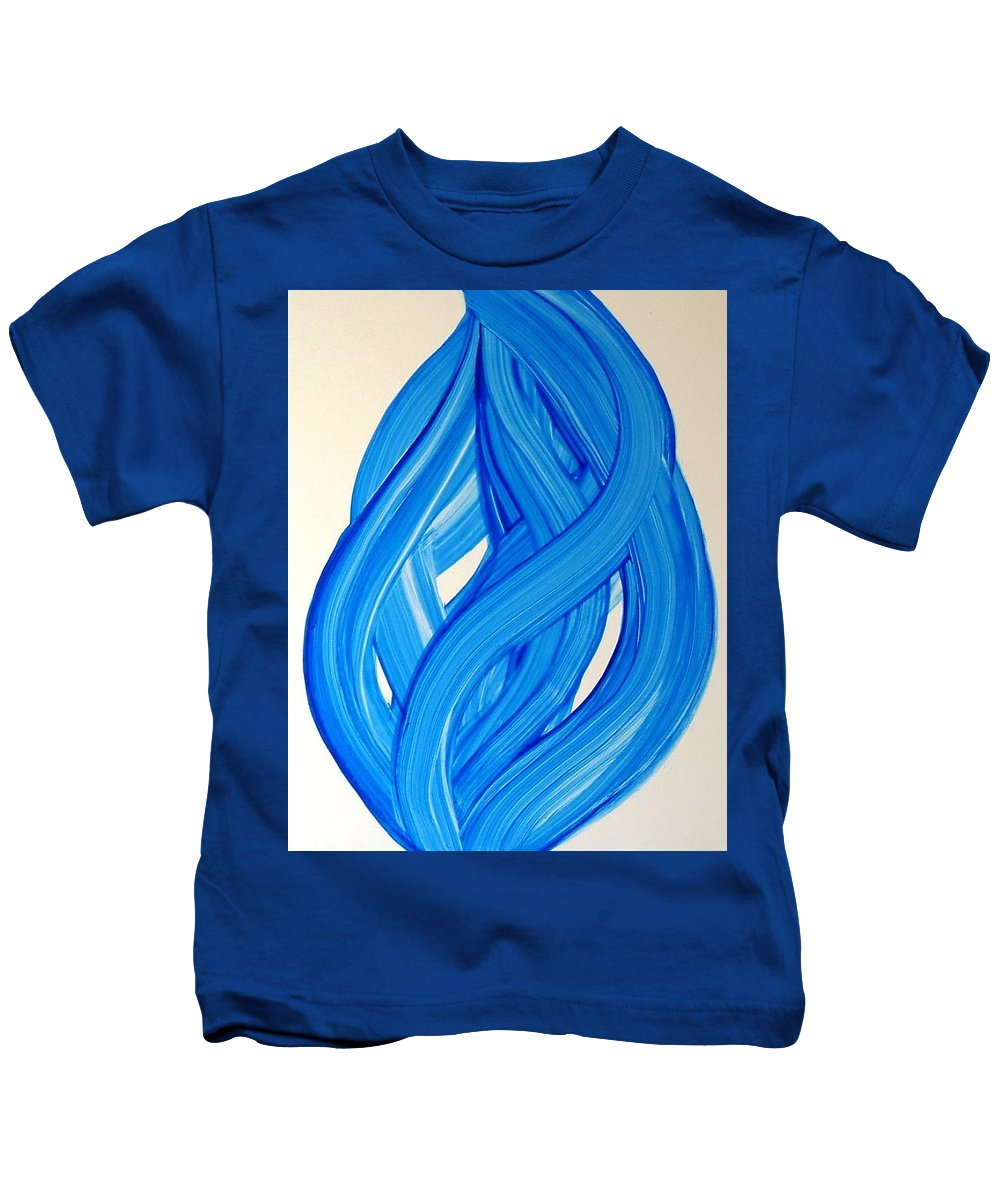 Abstract Modern Contemporary Yupo Art Painting Romantic Pop Blue Kids T-Shirt featuring the painting Ribbons Of Love-blue by Manjiri Kanvinde