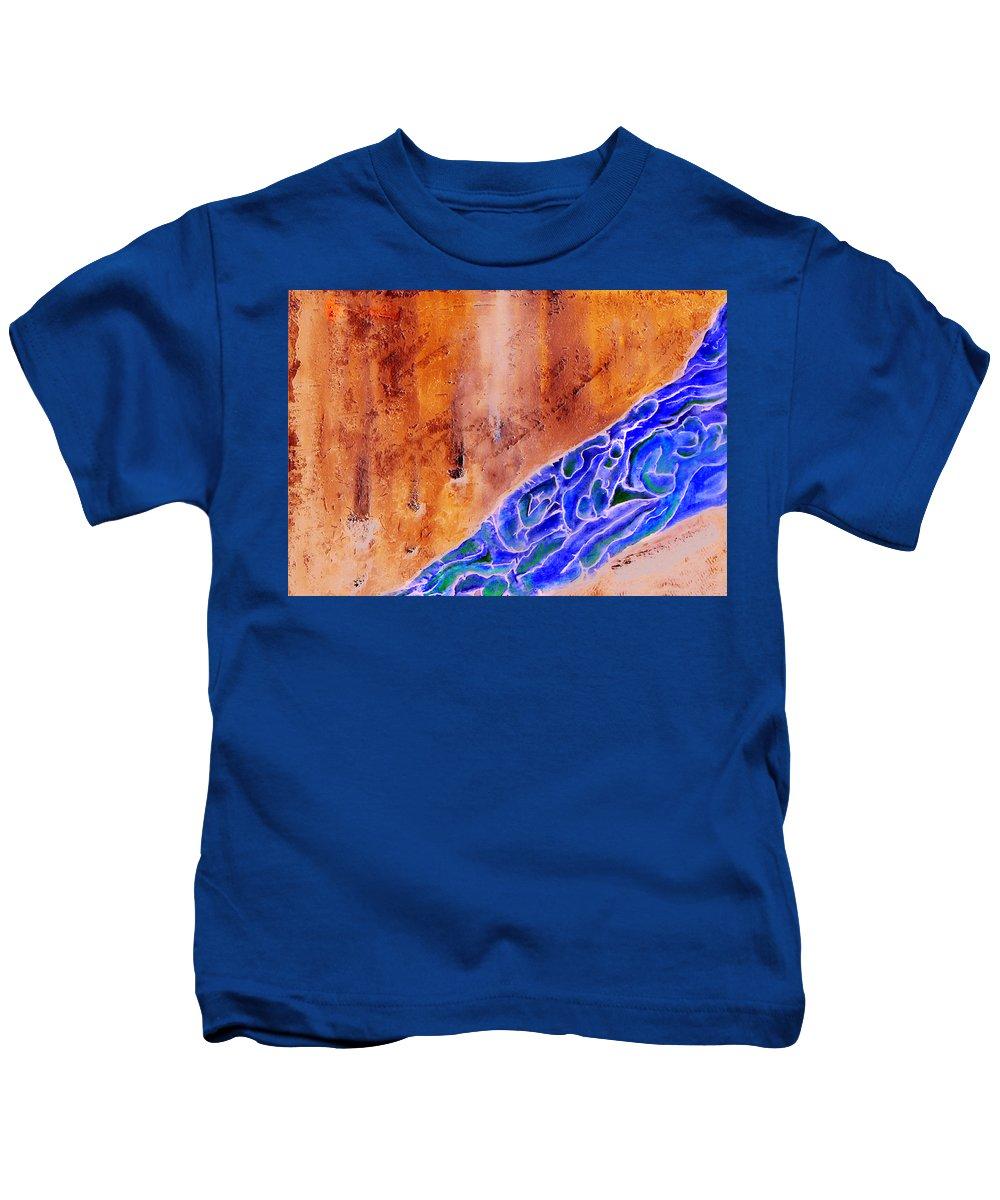 Life Flow River Water People Birth Kids T-Shirt featuring the mixed media River Of Life by Veronica Jackson