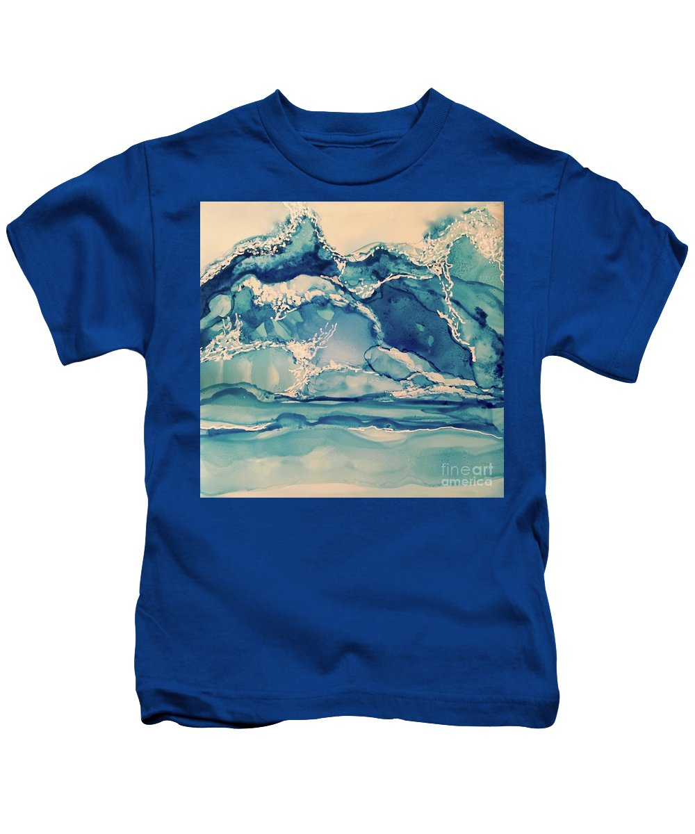 Dynamic Blues And Ocean Movement Kids T-Shirt featuring the painting Roaring Waves by Leti C Stiles