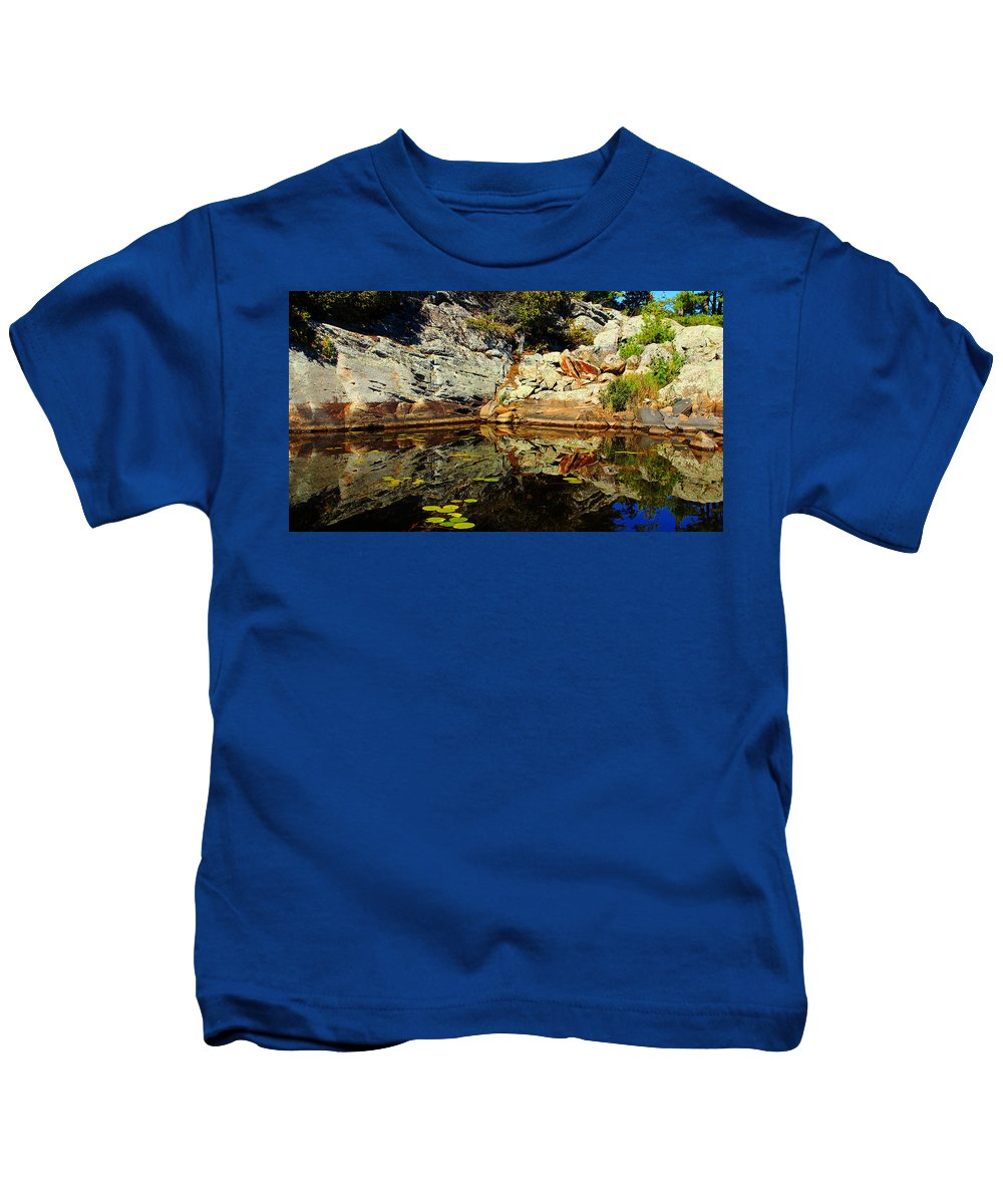 Shawanaga River Kids T-Shirt featuring the photograph Rock Me by Debbie Oppermann
