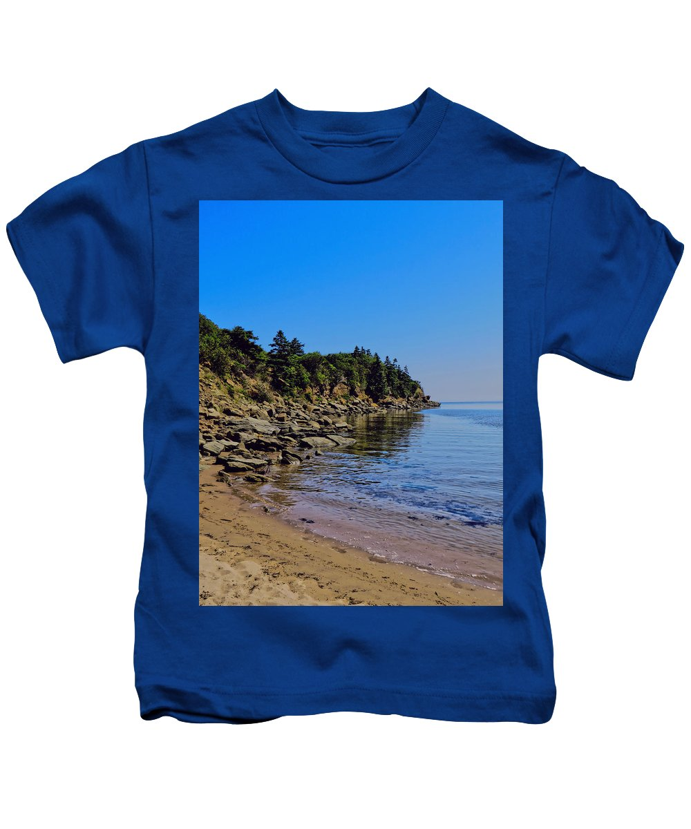 Rocks Photography Kids T-Shirt featuring the photograph Rocky Coastline by Kathleen Sartoris