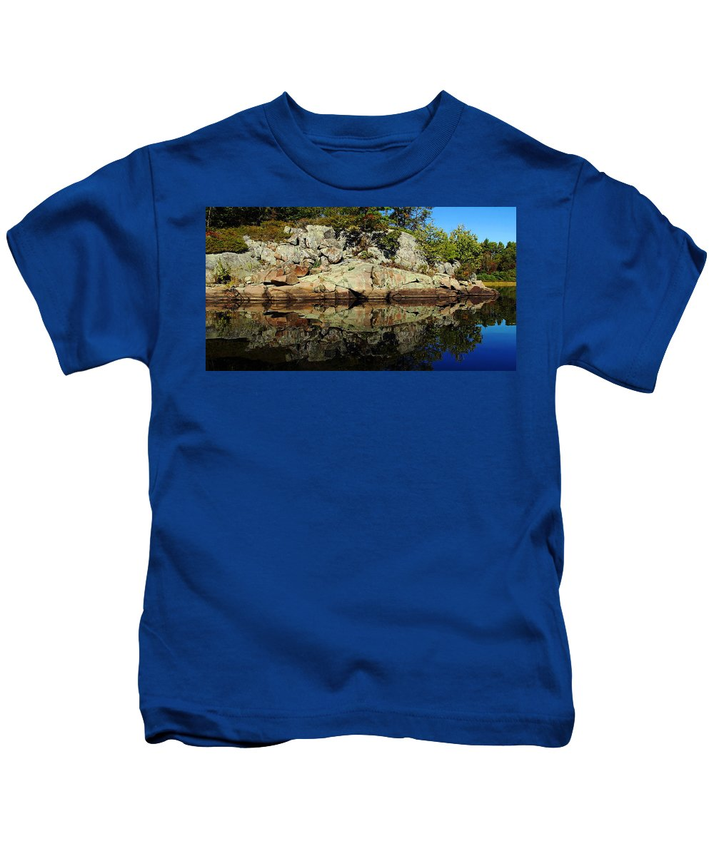 Shawanaga River Kids T-Shirt featuring the photograph Rocky Reflection by Debbie Oppermann