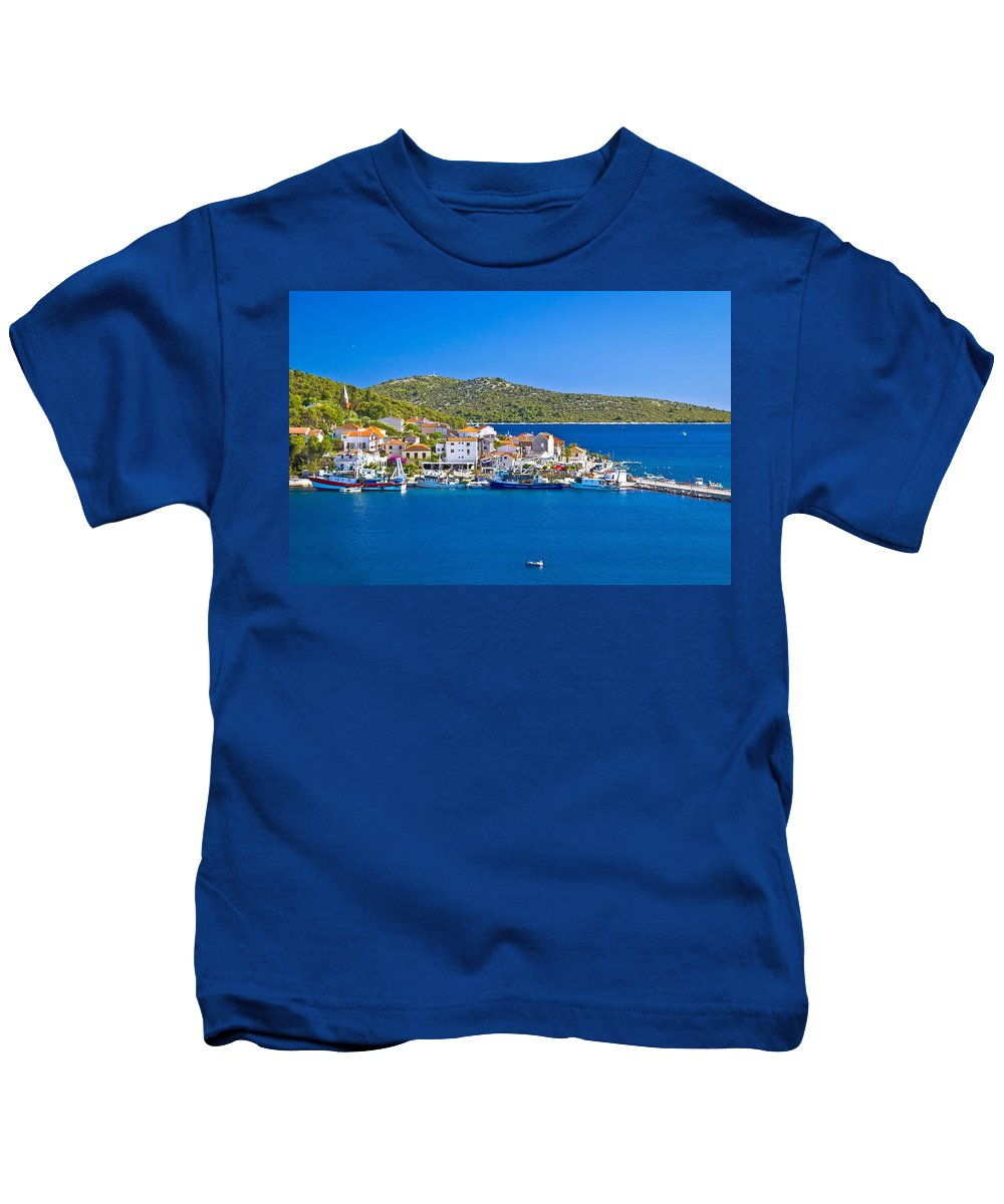 Rogoznica Kids T-Shirt featuring the photograph Rogoznica Harbor And Waterfront View by Brch Photography