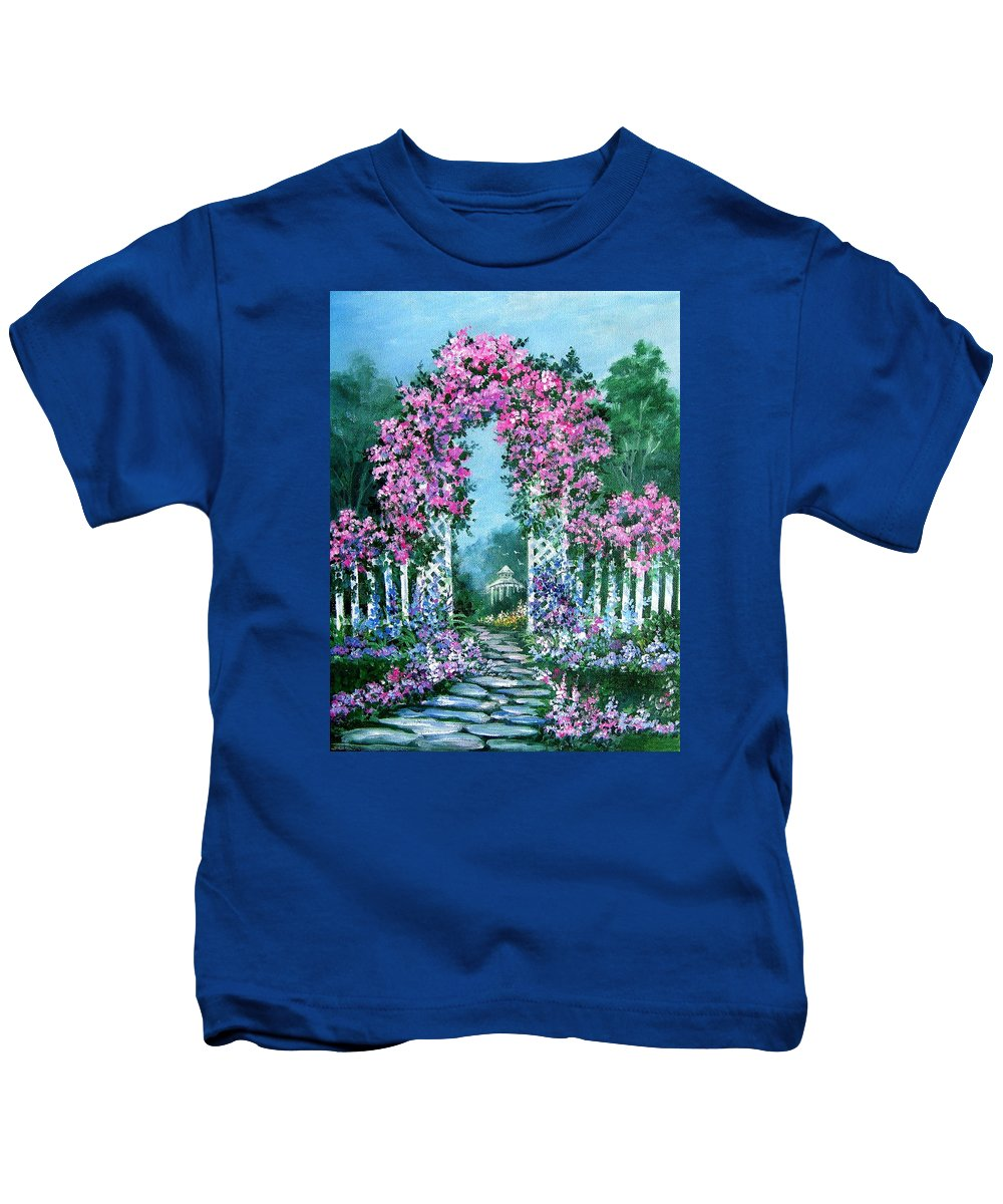 Roses;floral;garden;picket Fence;arch;trellis;garden Walk;flower Garden; Kids T-Shirt featuring the painting Rose-covered Trellis by Lois Mountz